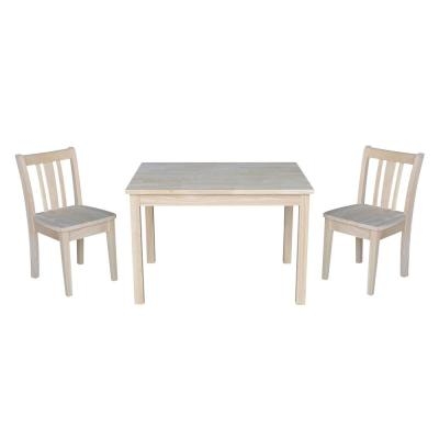 International Concepts Jorden Ready to Finish 3-Piece Kid's Table and Chair Set, Unfinished