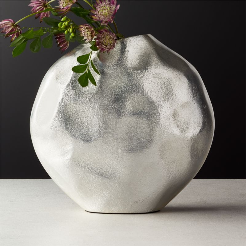 Niello Round Cast Aluminum Vase