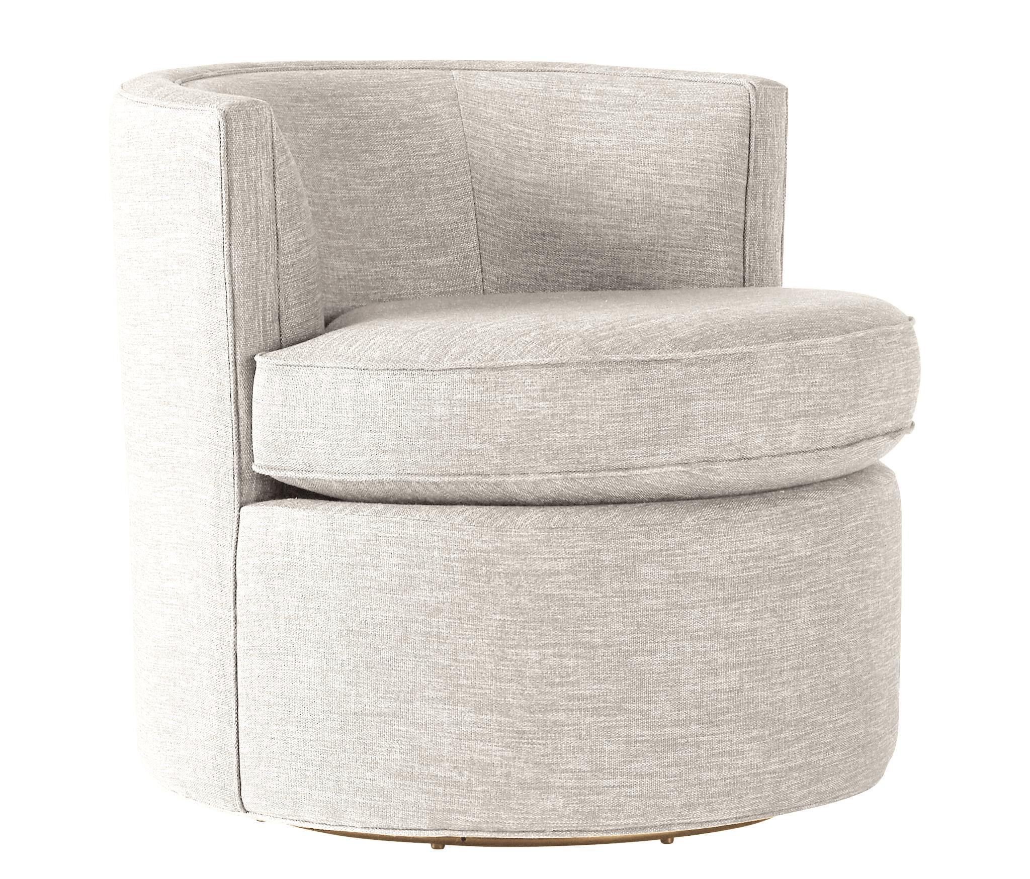 White Carly Mid Century Modern Swivel Chair - Tussah Snow