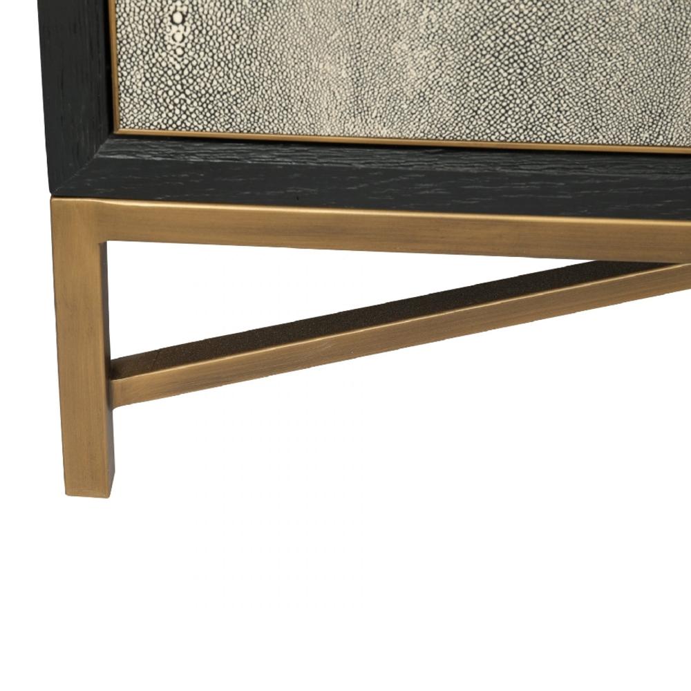 Myla Hollywood Regency Grey Faux Shagreen Wrapped Oak Wood Brass Sideboard Buffet