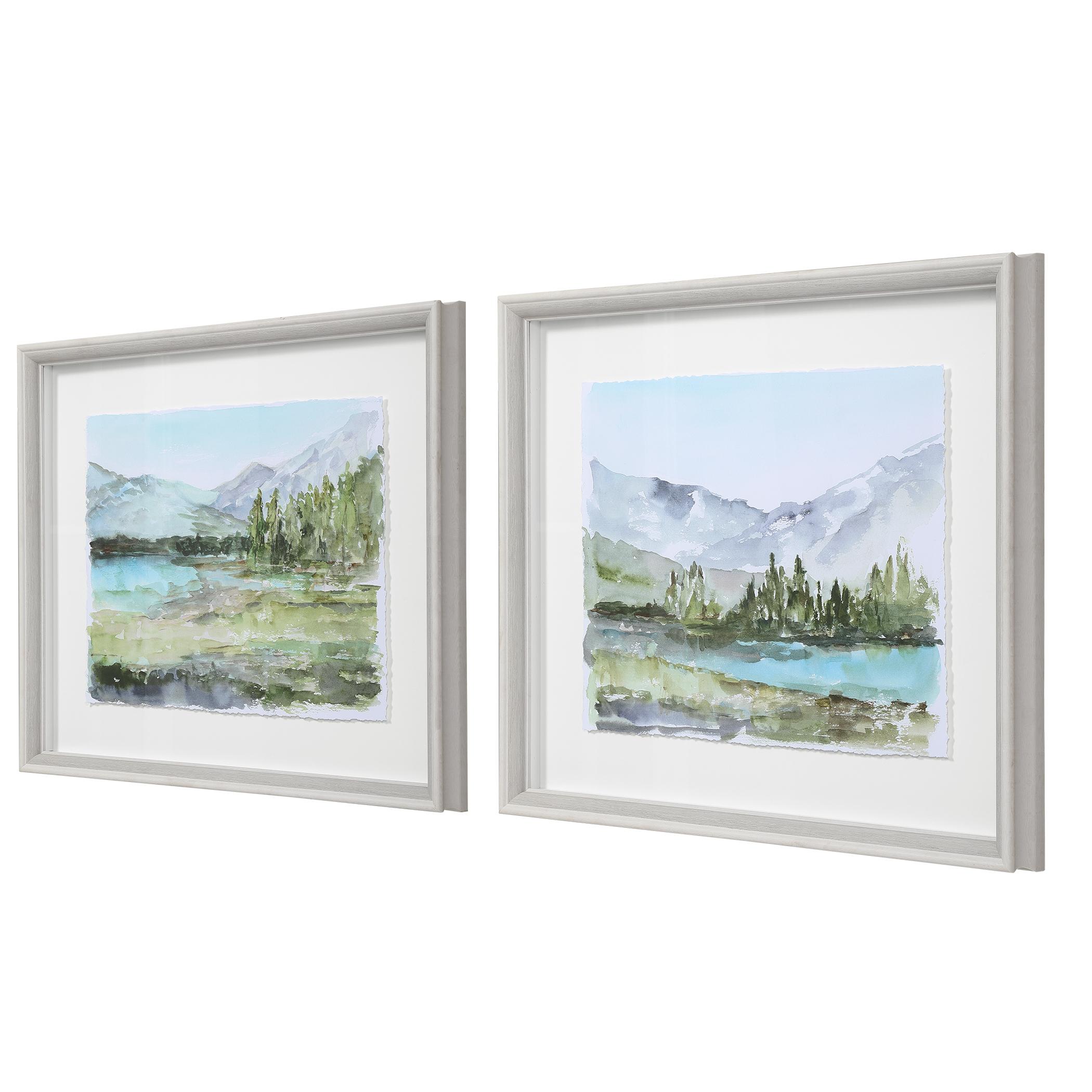 Plein Air Reservoir Watercolor Prints, S/2