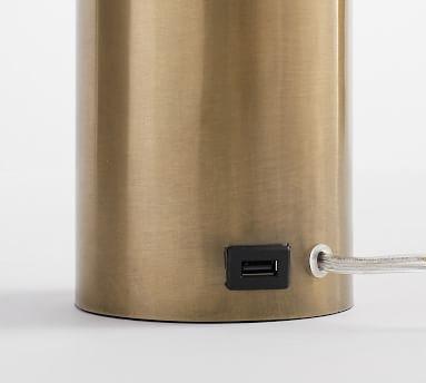 Stella USB Table Lamp, Antique Brass