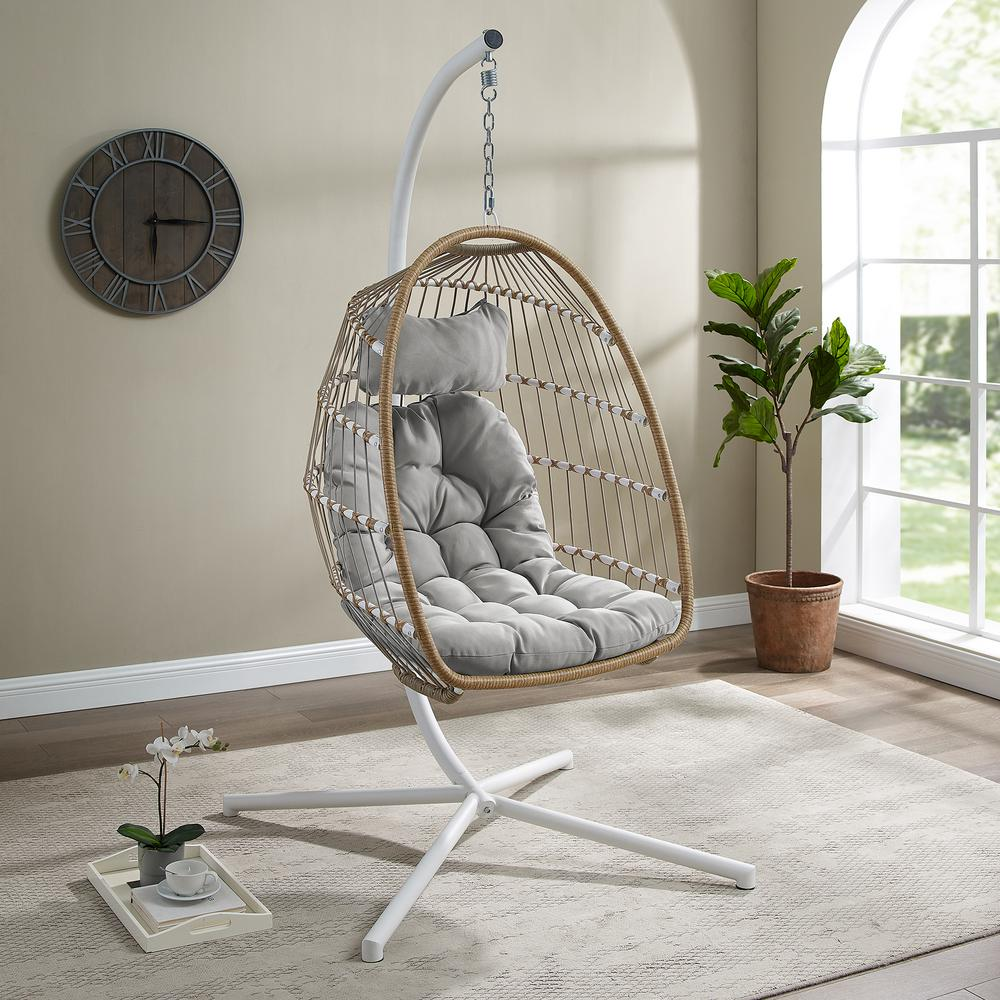 Welwick Designs 1 Person Brown Rattan Patio Swing Egg Chair With White Stand And Gray Cushions Home Depot