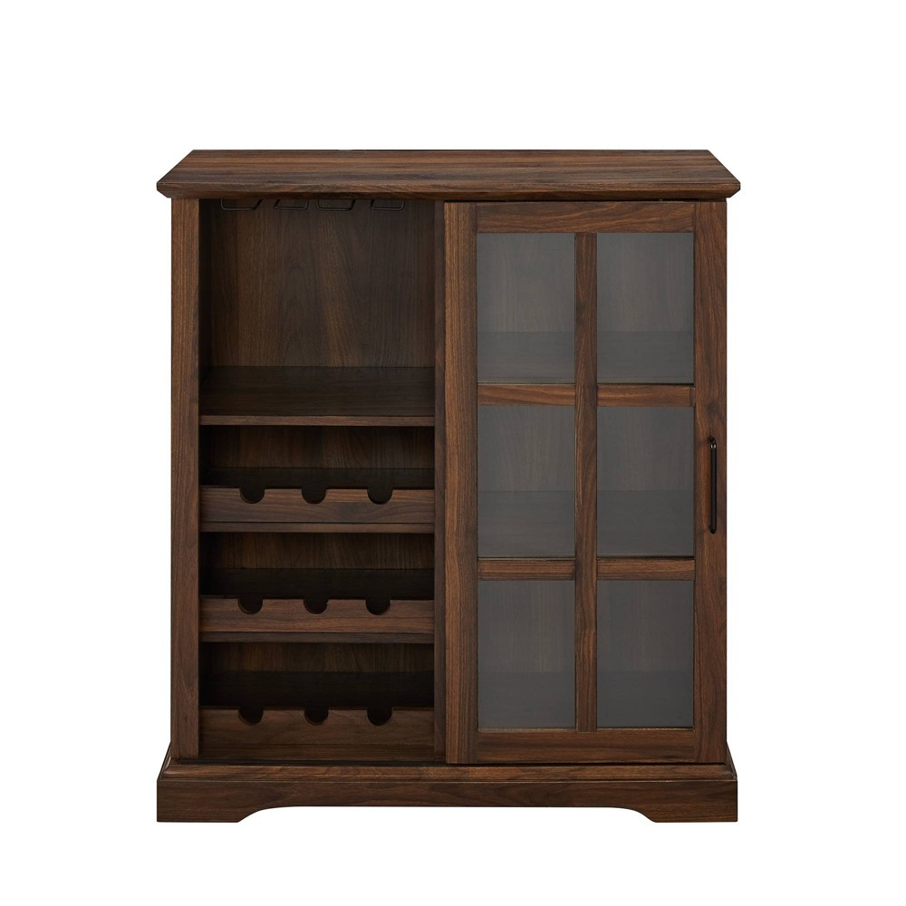 Sliding Glass Door Bar Cabinet Dark Walnut Saracina Home Dark Brown Target