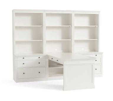 """Livingston 105"""" Peninsula Desk Office Suite, Montauk White"""
