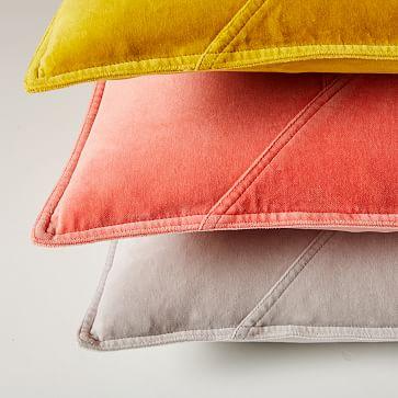 """Washed Cotton Velvet Pillow Cover, 18""""x18"""", Dark Horseradish"""