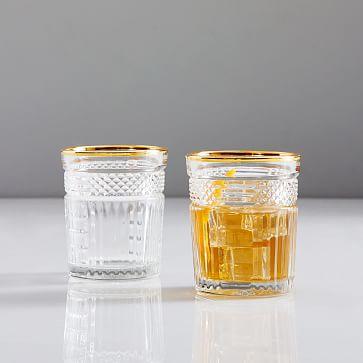 Radiant Cut Glassware, Set of 4, Gold Rim