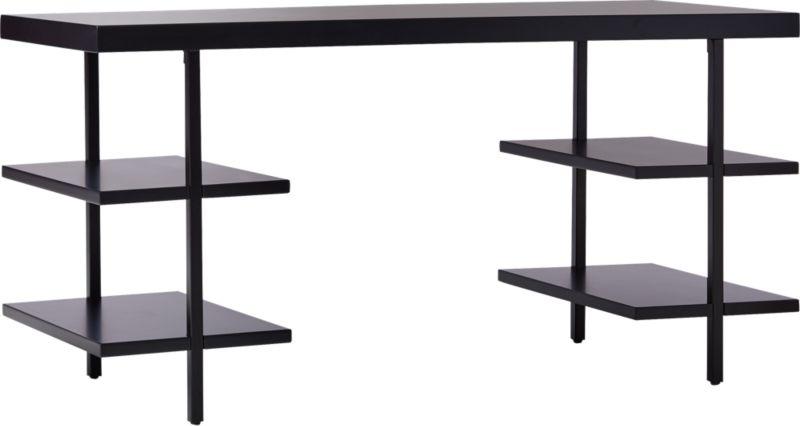 Stairway Modular Desk with Shelves Black