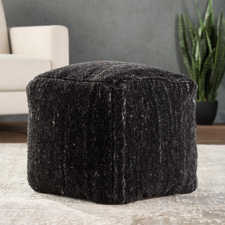 Sherwood Solid Black/ Ivory Cube Pouf