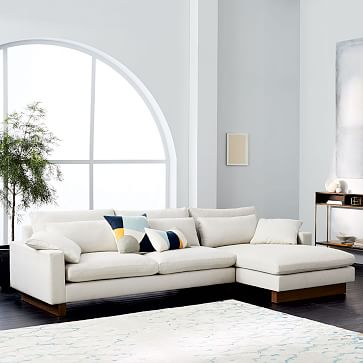 Harmony Left Arm Chair, Performance Coastal Linen, Platinum, Dark Walnut