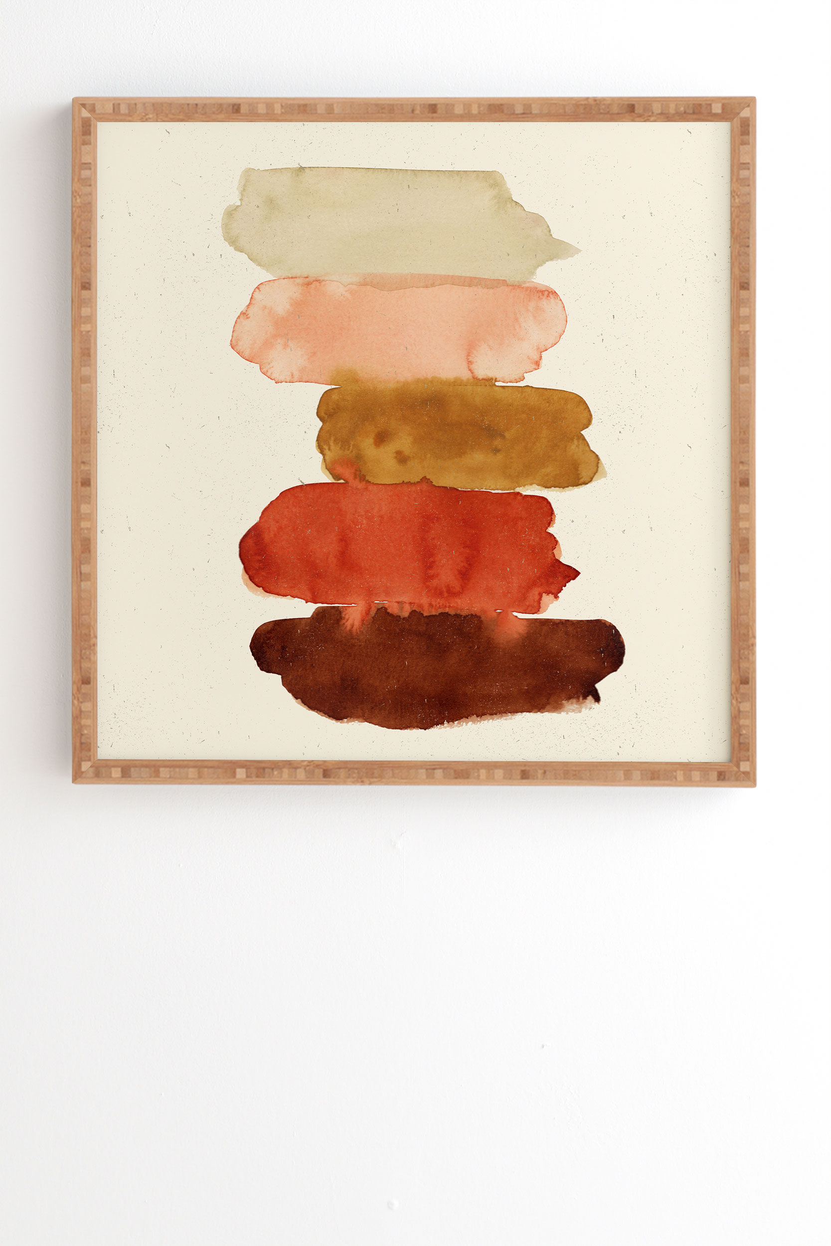 """Watercolor Swatches Rust Brown by Pauline Stanley - Framed Wall Art Bamboo 8"""" x 9.5"""""""