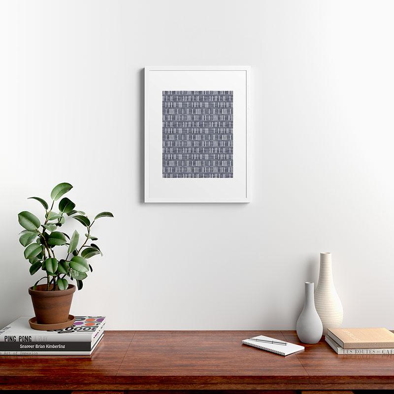 """Bogo Denim Mudcloth Light by Holli Zollinger, Modern Framed Art Print, White, 18"""" x 24"""""""
