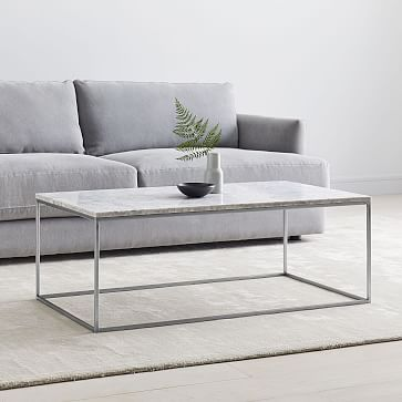 """Streamline XL Rectangle Coffee Table, 52""""x30"""", Marble and Antique Bronze"""