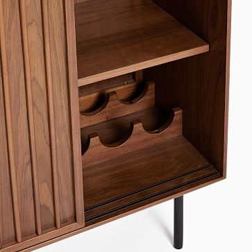 Slatted Bar Cabinet, Walnut, Antique Bronze