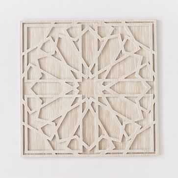 Graphic Wood Wall Art, Whitewashed, Square, Individual