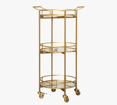 "Jurupa Metal Bar Cart, Matte Gold 39.5"" h"