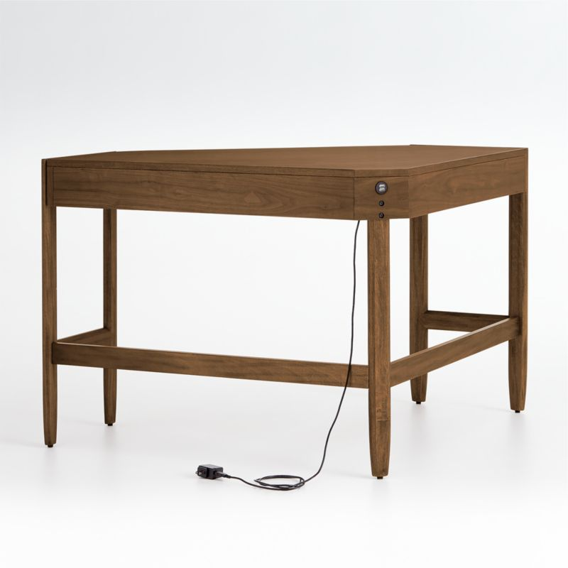 Tate Walnut Corner Desk with Power