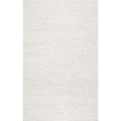 nuLOOM Caryatid Chunky Woolen Cable Off-White 5 ft. Square Rug, Beige