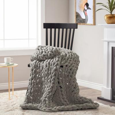AMERICAN HERITAGE Dove Chenille Chunky Knit Throw