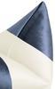 "Panel Colorblock Faux Silk Velvet Pillow Cover, Prussian Blue & Alabaster Silk, 18"" x 18"""