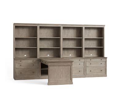 """Livingston 140"""" Peninsula Desk Office Suite, Montauk White"""