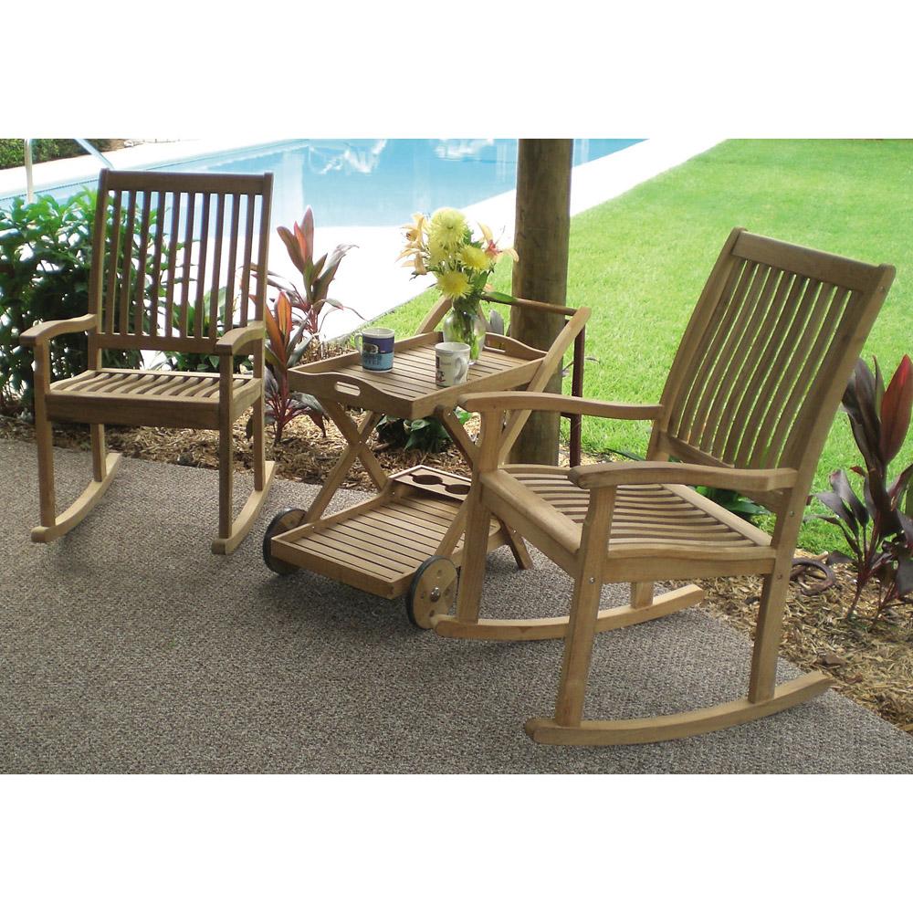 Terry Coastal Beach Brown Teak Wood Outdoor Tray Bar Cart
