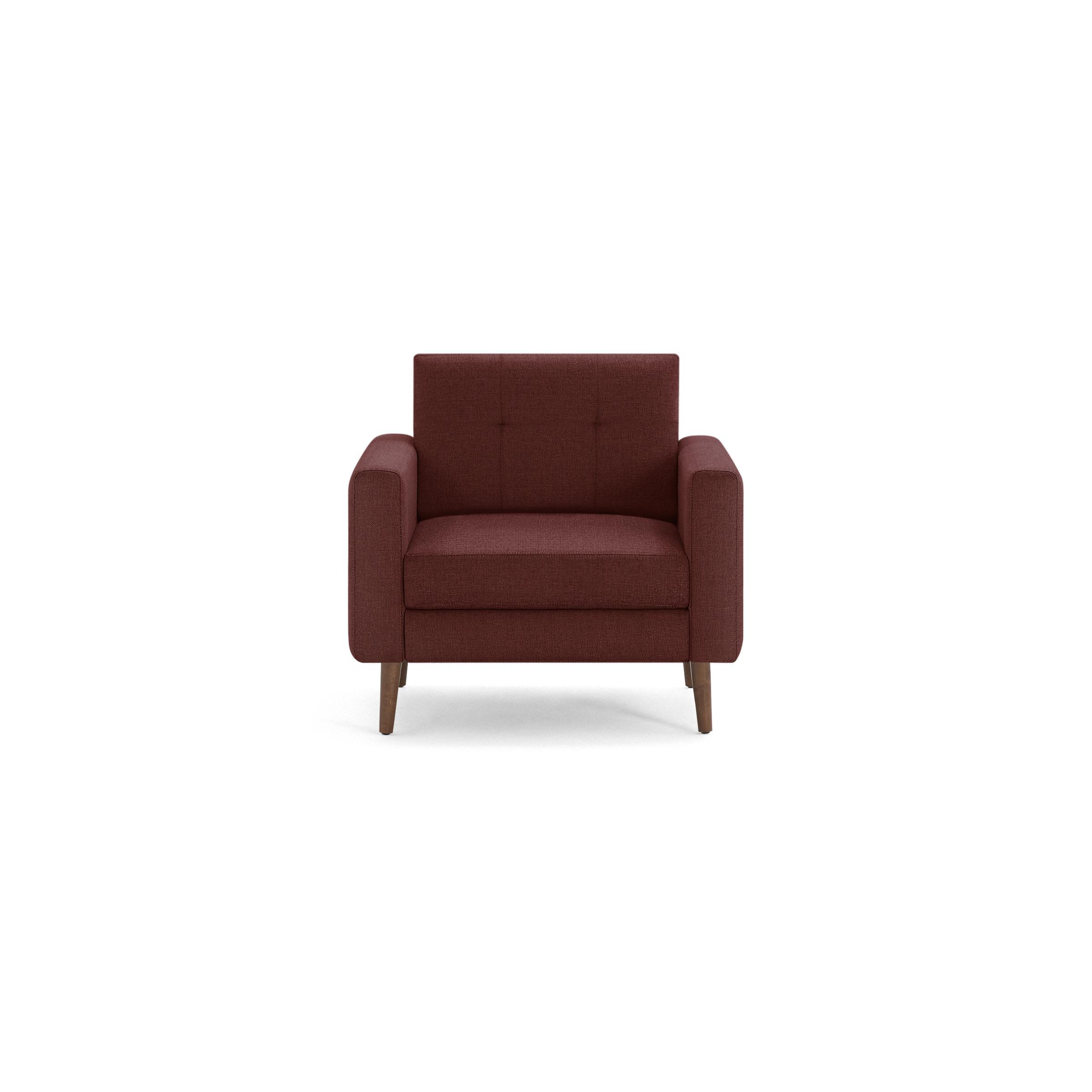 The Block Nomad Armchair in Brick Red, Walnut Legs