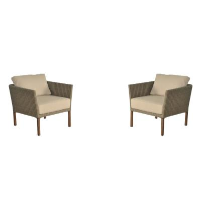 Hampton Bay Oakshire 2-Piece Wicker Outdoor Patio Deep Seating Set with Tan Cushions
