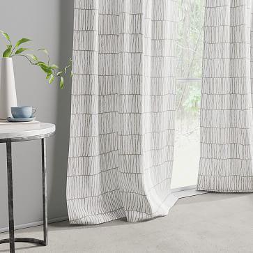 "Line Lattice Curtain, Stone Gray Stone White, Set of 2, 48""x96"""