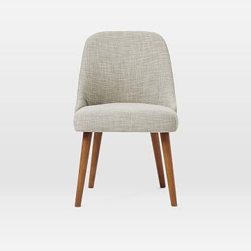 Mid-Century Upholstered Dining Chair, Salt + Pepper, Tweed, Pecan