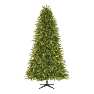 Home Accents Holiday 7.5 ft Manchester White Spruce LED Pre-Lit Artificial Christmas Tree with 500 SureBright Color Changing Lights