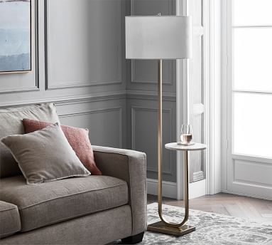 Delaney Marble Floor Lamp, Antique Brass