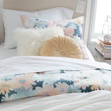 Velvet Pleated Round Pillow, Golden Yellow