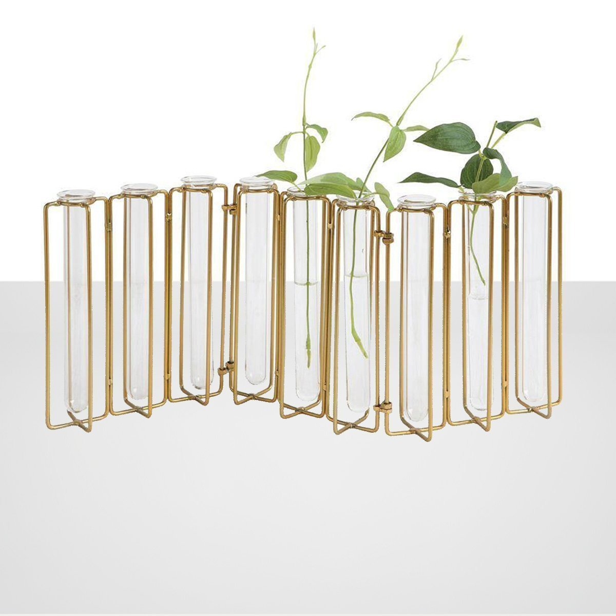 9 Test Tube Vases in a Single Metal Stand, Gold