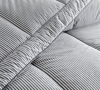 Wheaton Striped Organic Percale Comforter, King/Cal King, Navy
