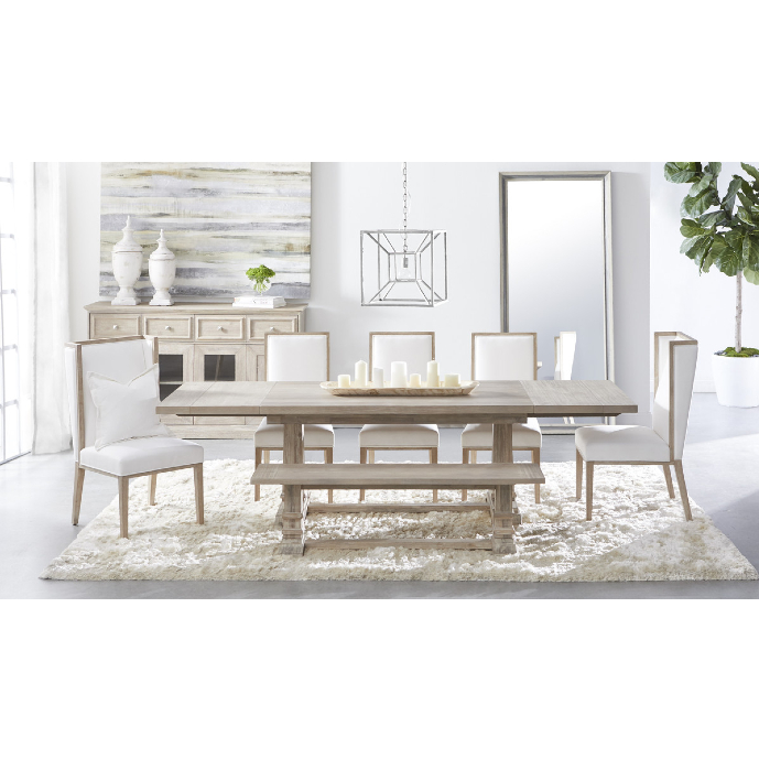 Julian French Country Brown Wood Trestle Dining Table - Extendable