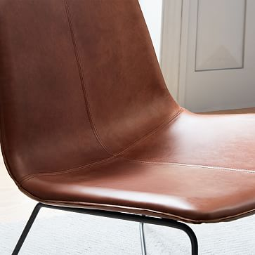 Slope Lounge Chair, Poly, Vegan Leather, Saddle, Charcoal