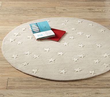 Starry Skies Round Rug, 5 Ft Round, Blush