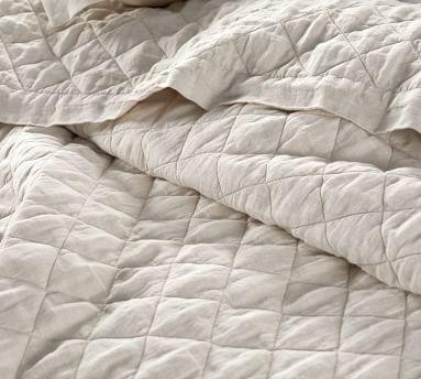 Belgian Flax Linen Diamond Quilt, Full/Queen, Chambray/Flax