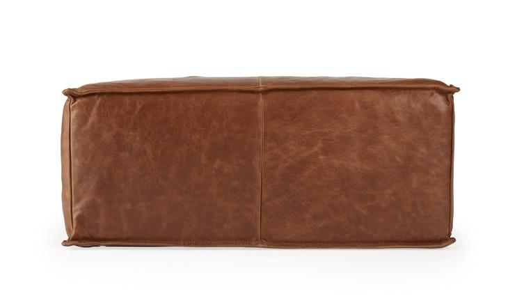 Brown Lyle Mid Century Modern Leather Ottoman - Academy Cuero