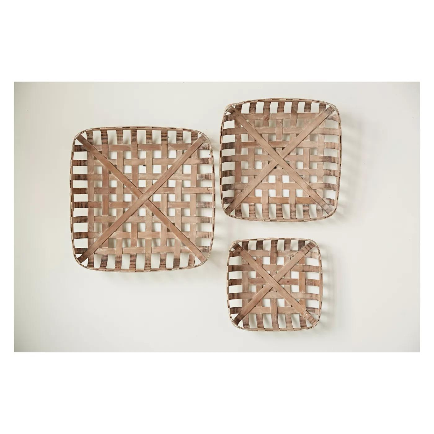 Square Reproduction Tobacco Baskets, Set of 3