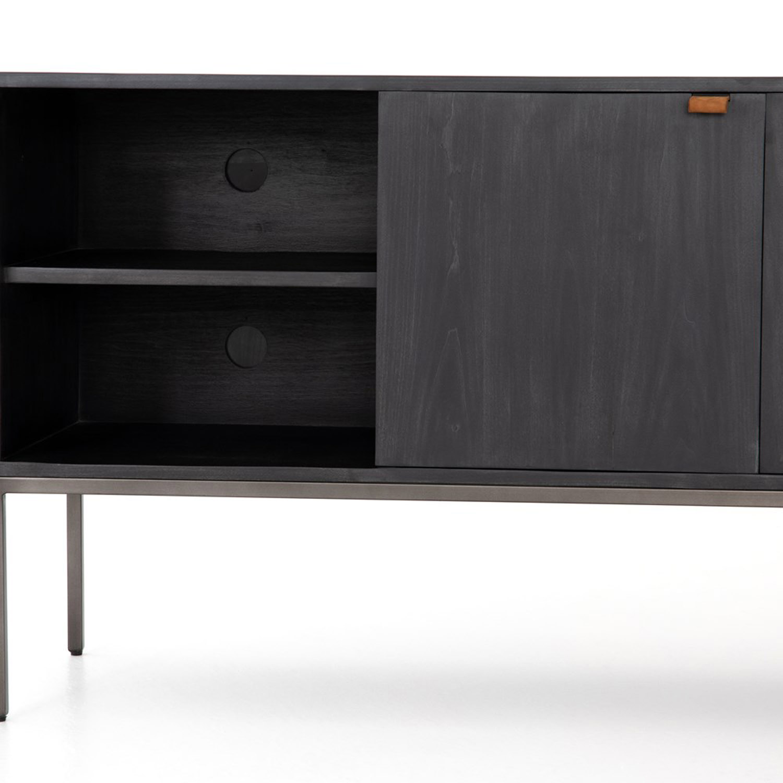 Theodore Industrial Loft Black Wood Iron Media Cabinet
