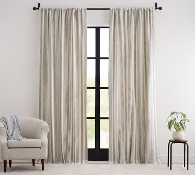 "Hawthorn Striped Cotton Rod Pocket Curtain, 50 x 96"", Charcoal"