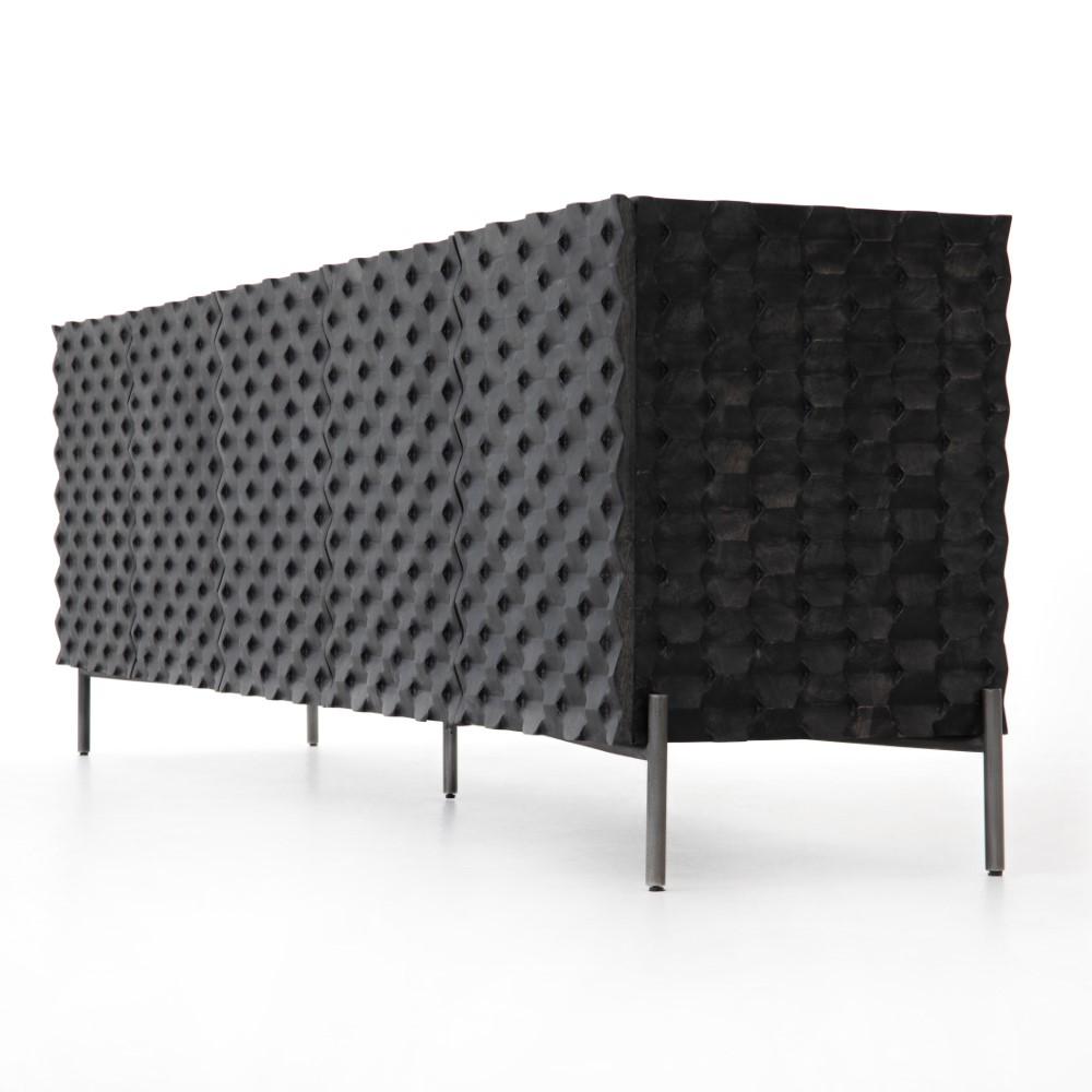 Angeline Modern Classic Black Carved Wood Media Cabinet