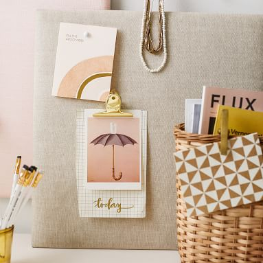 No Nails Dorm Pinboard, Blush Linen, 24x36 Inches