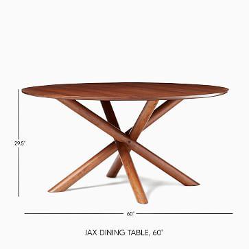 "Jax 60"" Round Dining Table, Walnut"