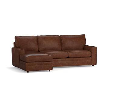 Pearce Square Arm Leather Right Arm 2-Piece Loveseat with Chaise Sectional, Down Blend Wrapped Cushions, Churchfield Camel