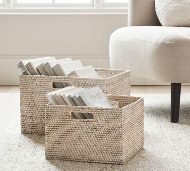 Tava Woven Utility Basket, Large, Whitewash