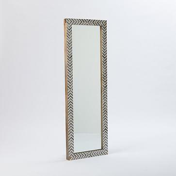 Parsons Floor Mirror, Bone Herringbone/Gray