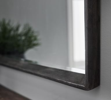 "Kelby Black Mango Wood Wall Mirror, 42"" x 42"""